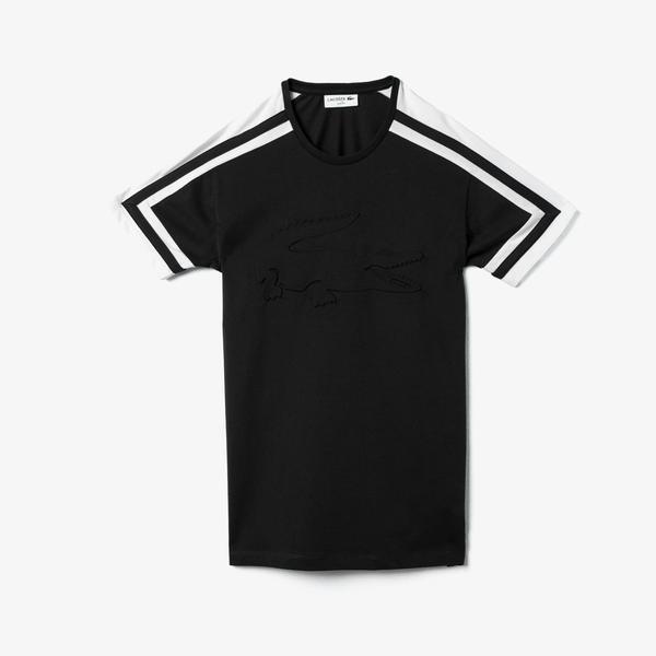 Lacoste Erkek Bisiklet Yaka Blok Desenli Baskılı Siyah T-Shirt