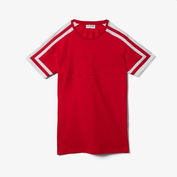 Lacoste Erkek Bisiklet Yaka Blok Desenli Baskılı Kırmızı T-Shirt