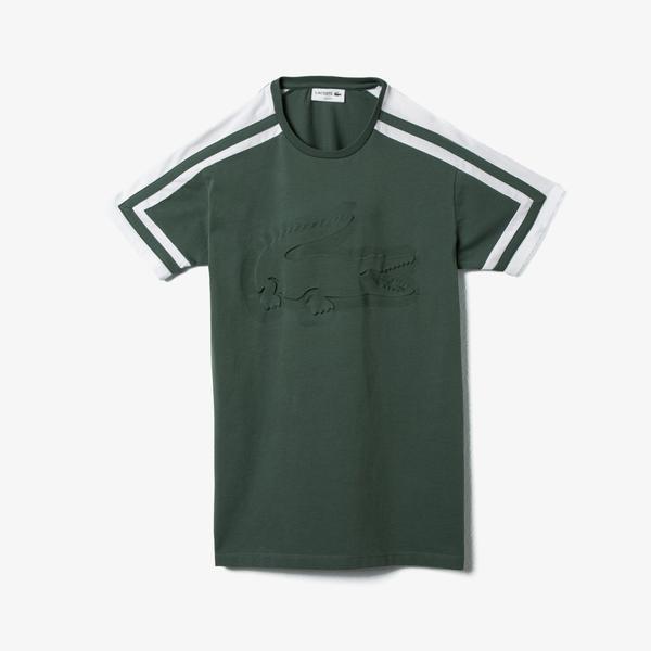 Lacoste Erkek Bisiklet Yaka Blok Desenli Baskılı Yeşil T-Shirt
