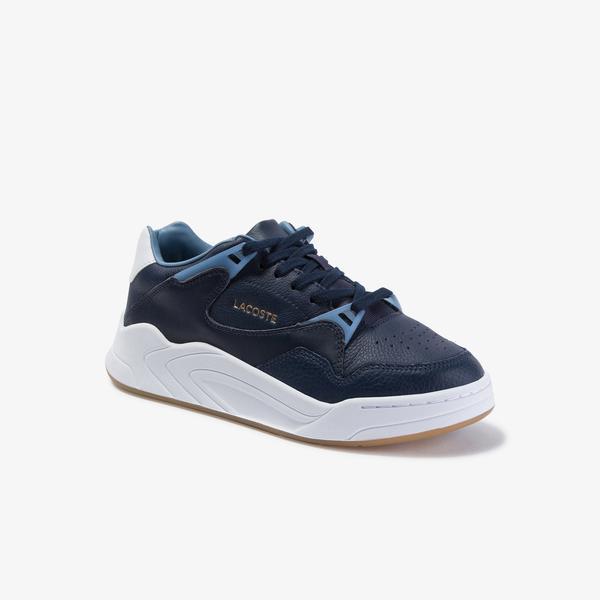 Lacoste Court Slam 120 4 Sfa Kadın Lacivert - Açık Mavi Deri Ayakkabı