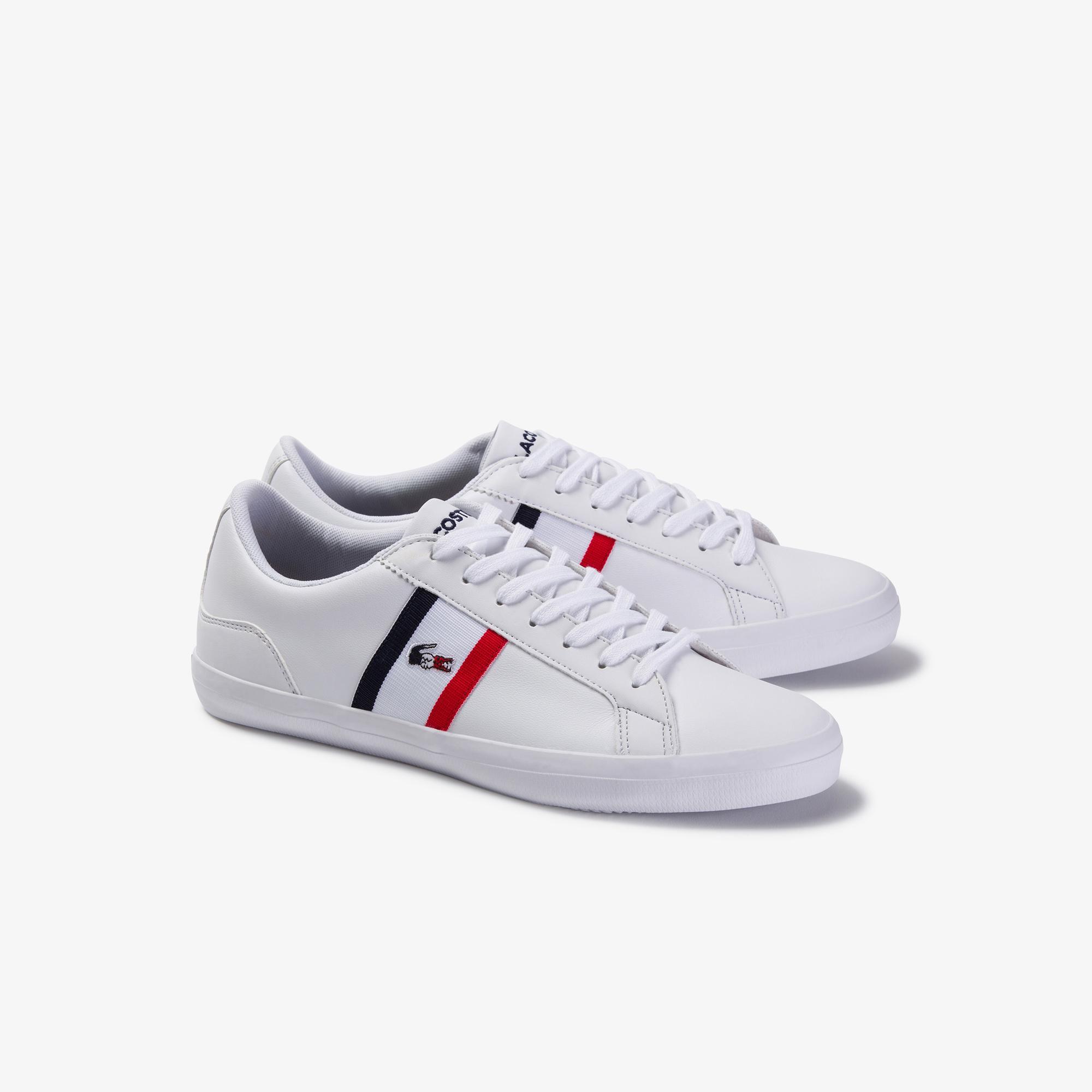 Lacoste Lerond Tri1 Cma Erkek Beyaz - Lacivert - Kırmızı Deri Ayakkabı