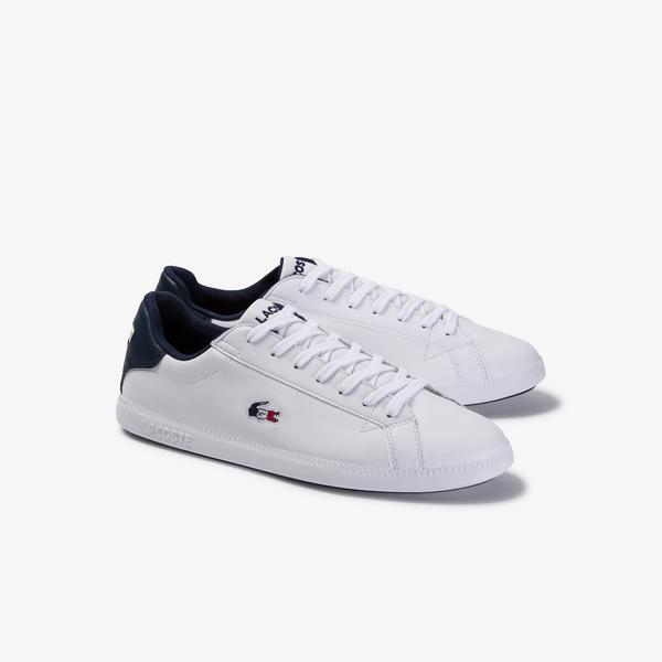 Lacoste Graduate Tri1 Sma Erkek Beyaz - Lacivert Deri Ayakkabı
