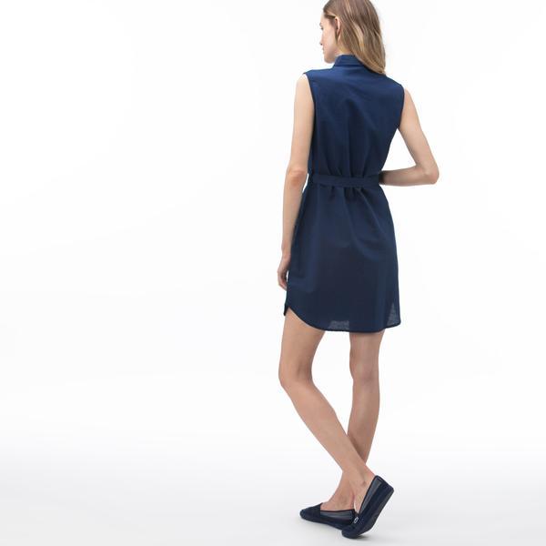 Lacoste Kadın Kolsuz Lacivert Elbise