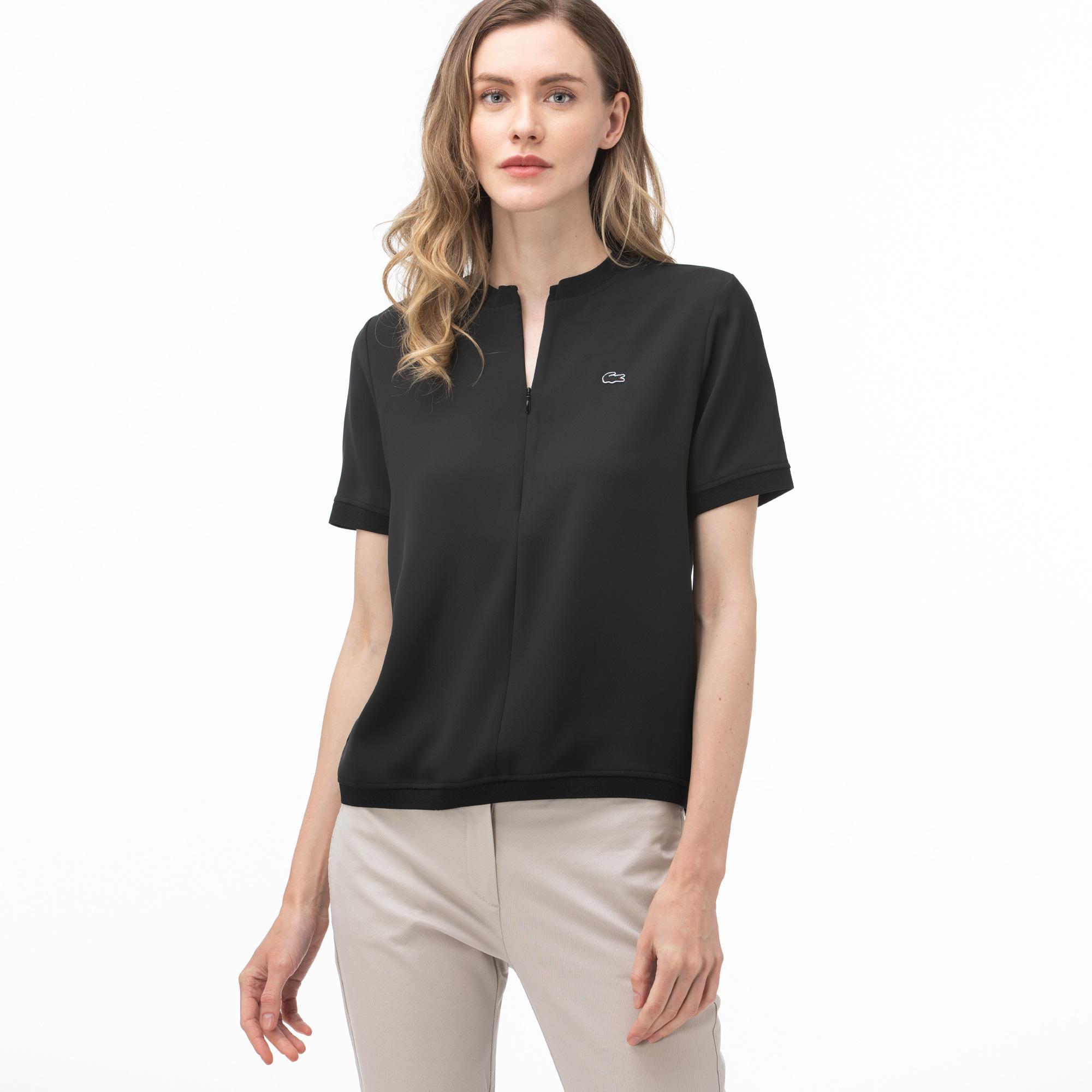 Lacoste Kadın Fermuarlı Yaka Siyah Bluz