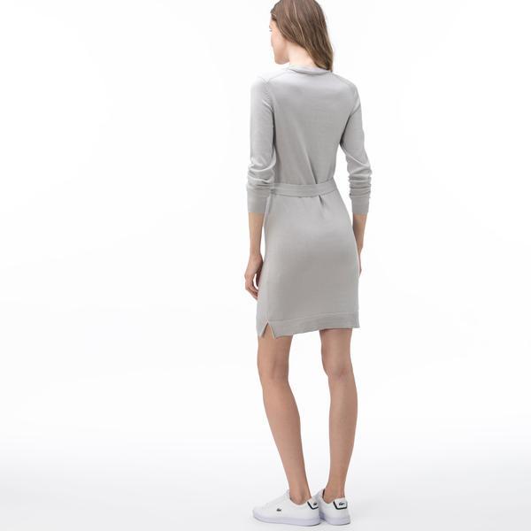 Lacoste Kadın Bisiklet Yaka Uzun Kollu Gri Elbise