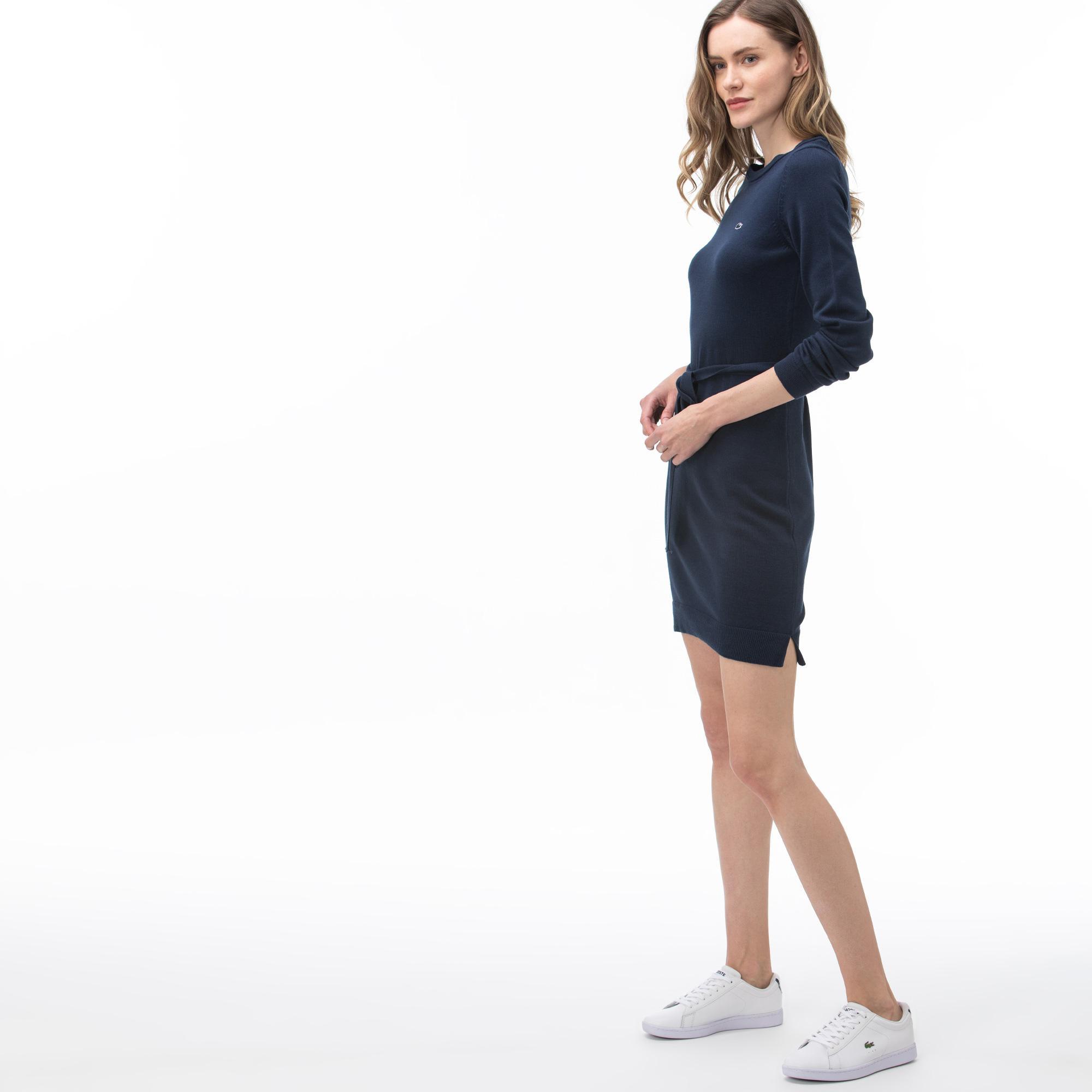 Lacoste Kadın Bisiklet Yaka Uzun Kollu Lacivert Elbise