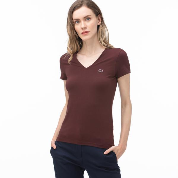 Lacoste Kadın V Yaka Bordo T-Shirt