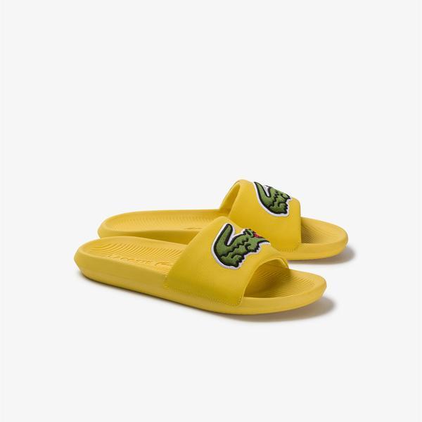 Lacoste Croco Slide 120 US CMA Erkek Timsah Baskılı Sarı Terlik