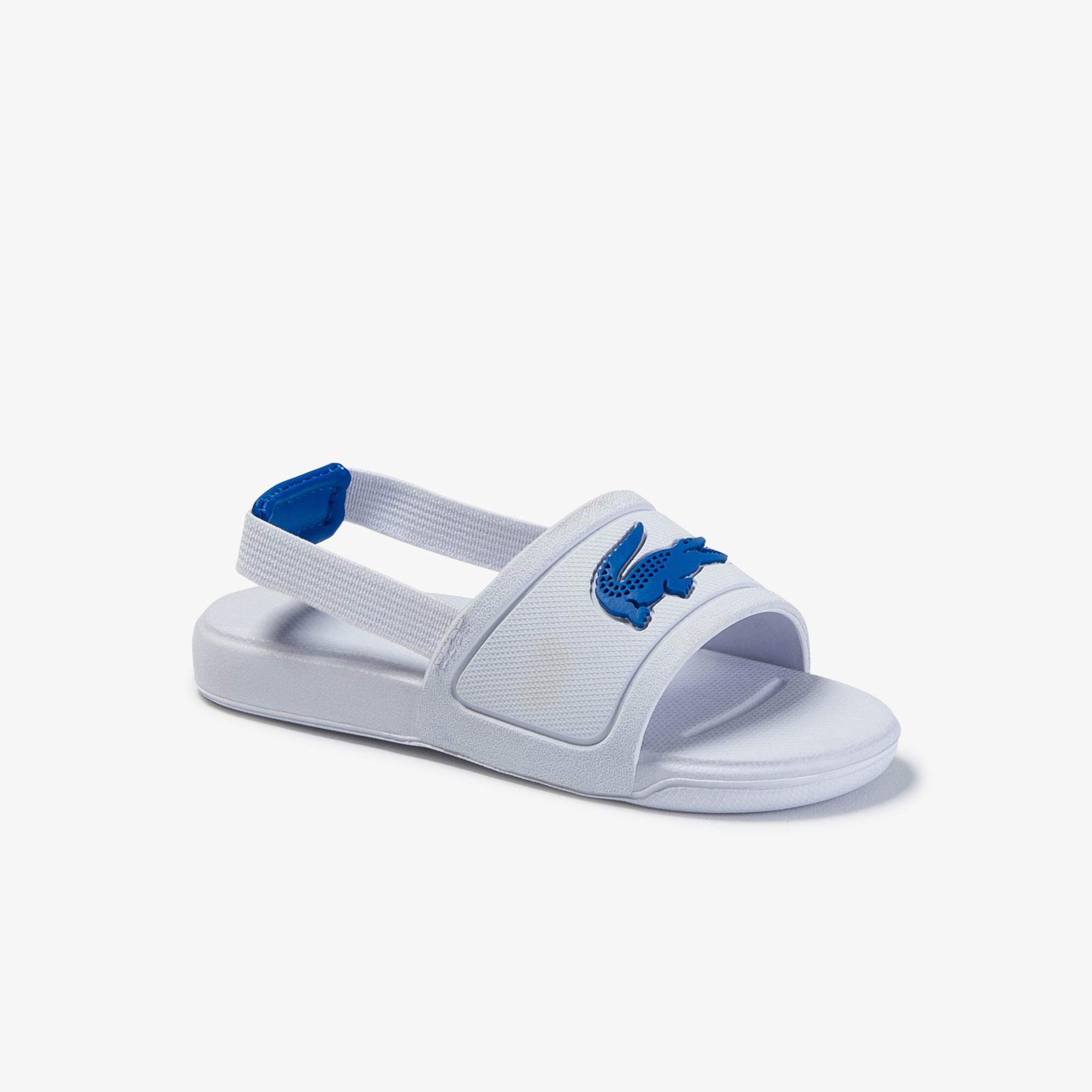 Lacoste L.30 Slide 120 1 Cui Çocuk Timsah Baskılı Beyaz Sandalet