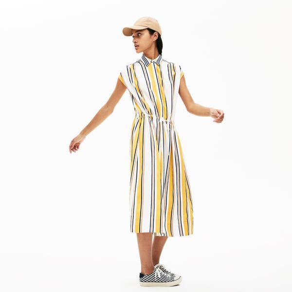 Lacoste Kadın Bebe Yaka Çizgili Kolsuz Renkli Elbise