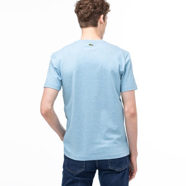 Lacoste Erkek Bisiklet Yaka Baskılı Blok Desenli Mavi T-Shirt