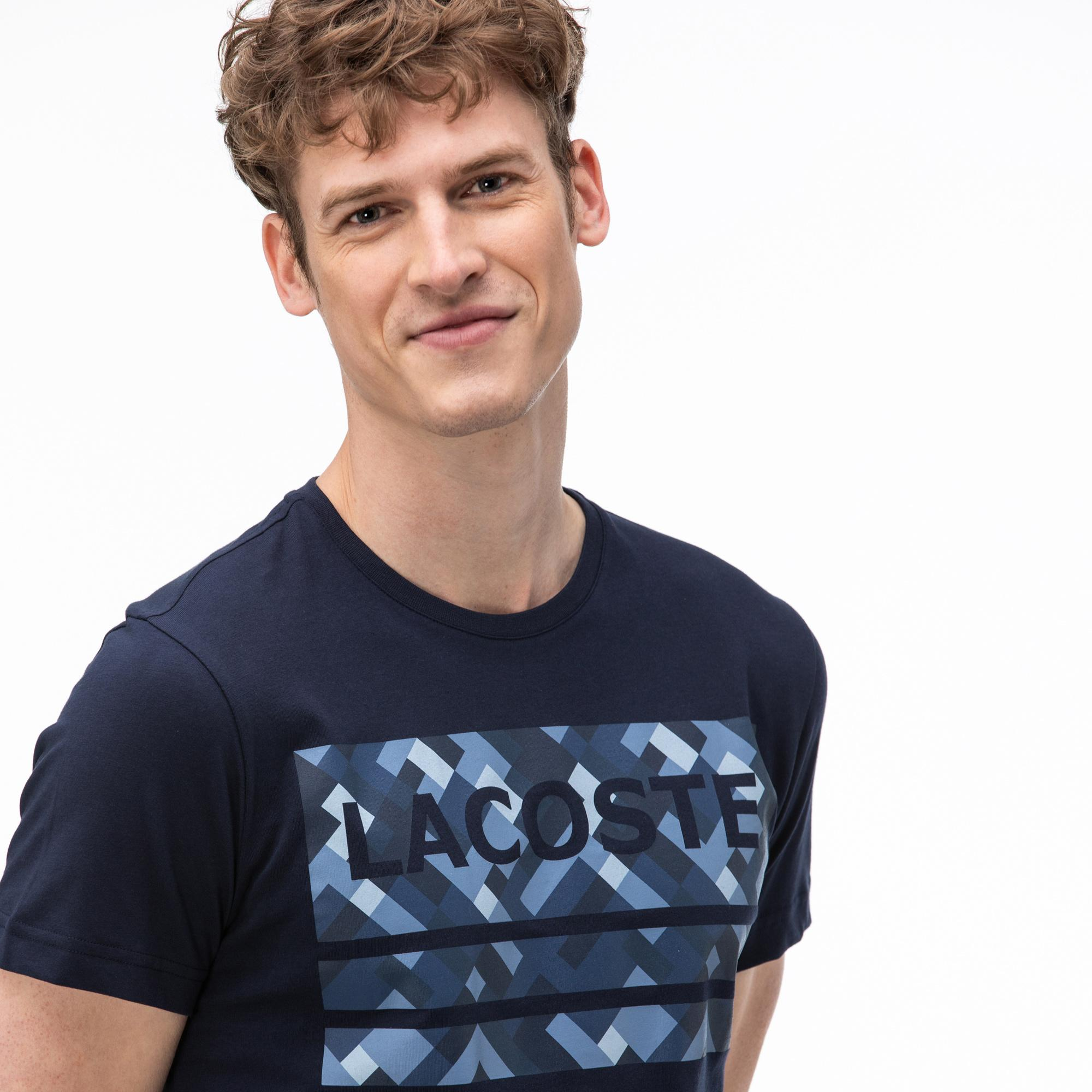 Lacoste Erkek Bisiklet Yaka Baskılı Lacivert T-Shirt