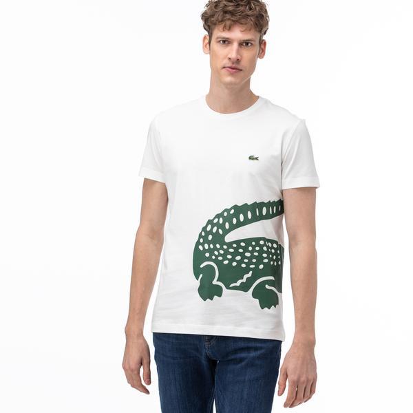 Lacoste Erkek Bisiklet Yaka Timsah Baskılı Beyaz T-Shirt