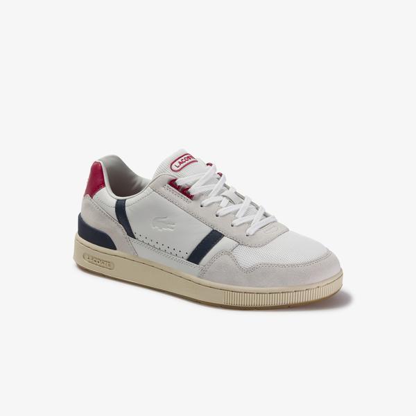 Lacoste T-Clip 120 2 Us Sma Erkek Beyaz - Lacivert - Kırmızı Deri Sneaker