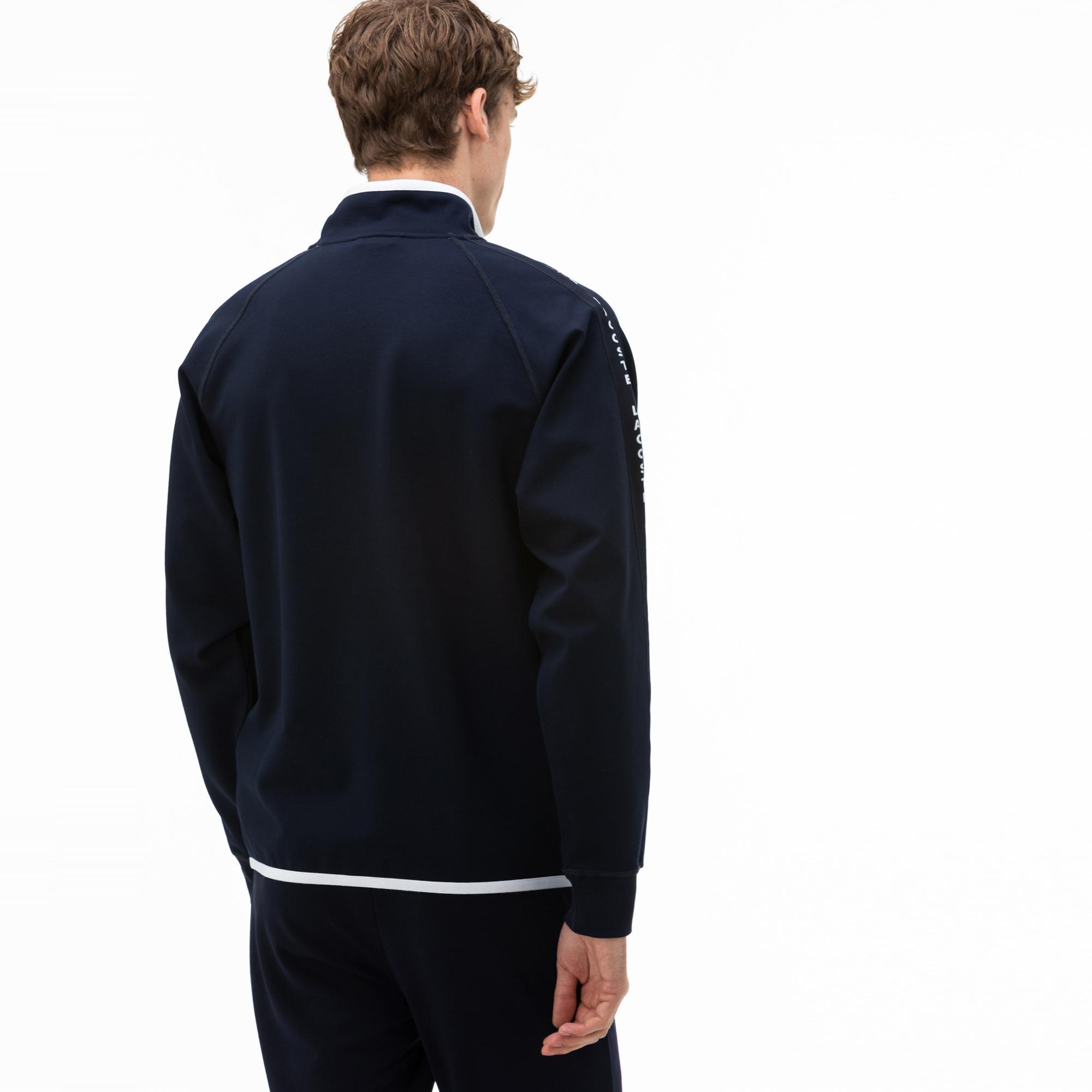 Lacoste Erkek Fermuarlı Baskılı Lacivert Sweatshirt