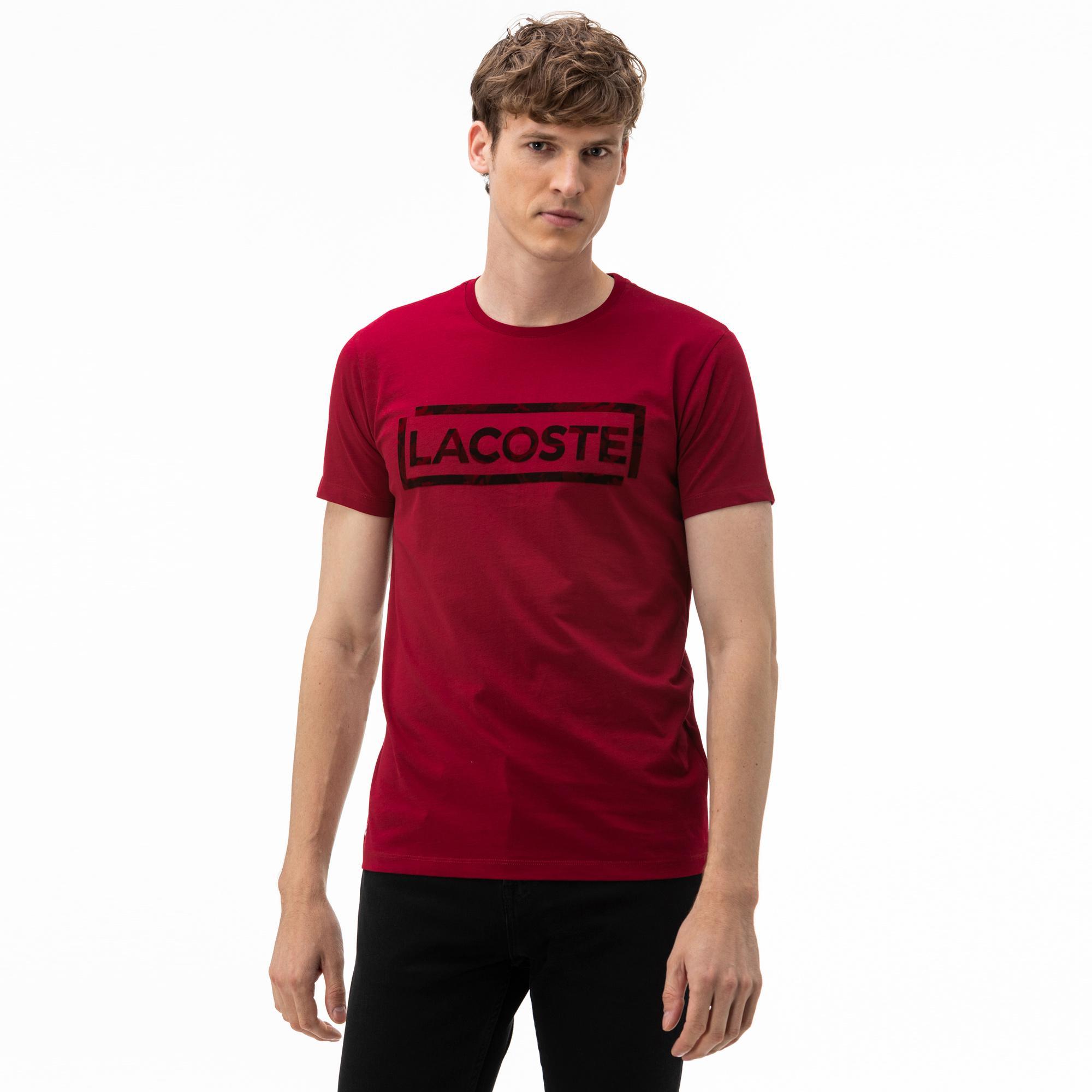 Lacoste Erkek Bisiklet Yaka Baskılı Bordo T-Shirt