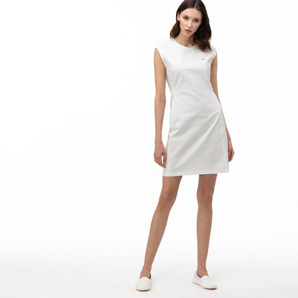 Lacoste Kadın Bisiklet Yaka Kolsuz Beyaz Elbise
