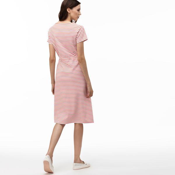 Lacoste Kadın V Yaka Çizgili Kısa Kollu Kırmızı Elbise