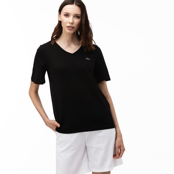 Lacoste Kadın V Yaka Desenli Siyah T-Shirt