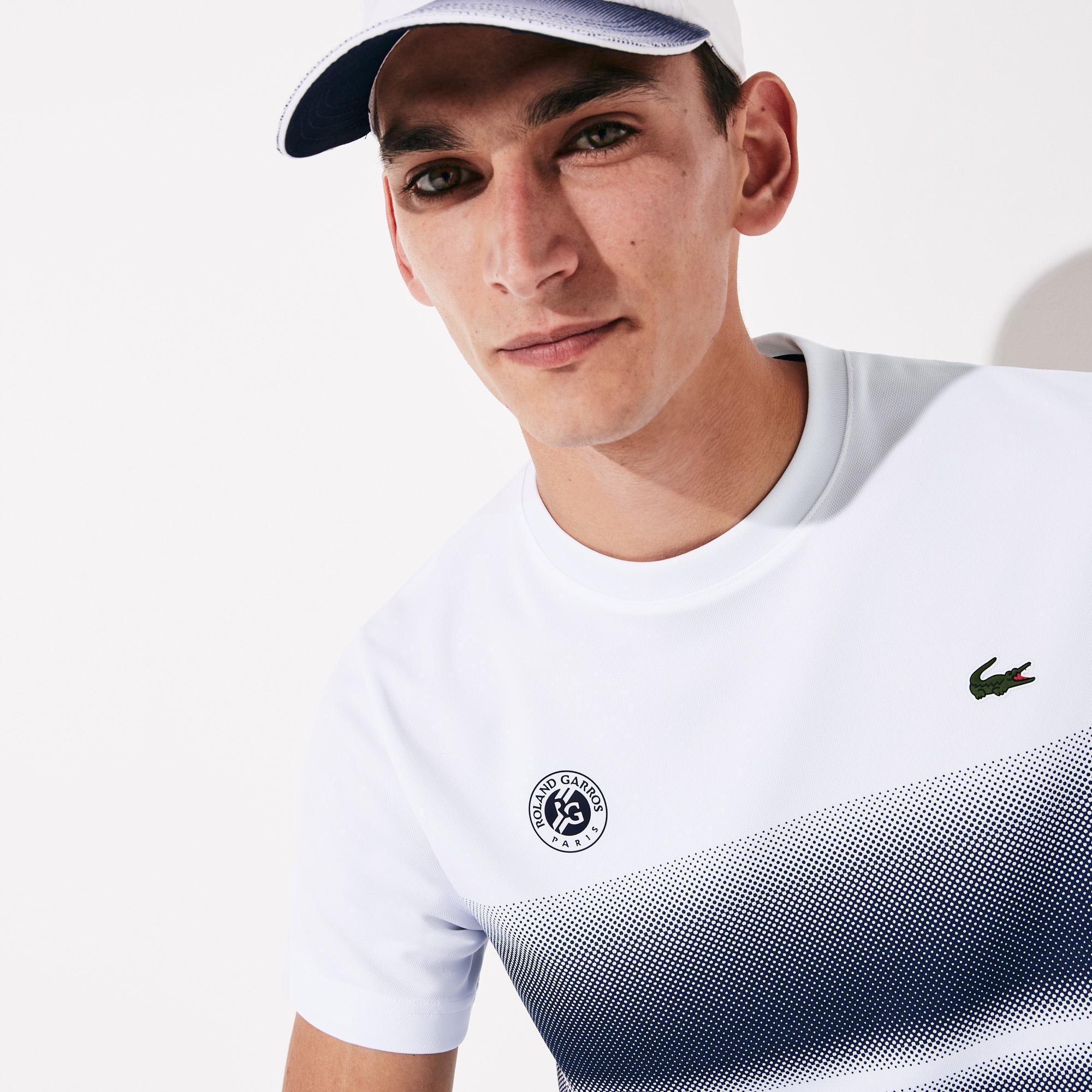 Lacoste Sport Erkek Bisiklet Yaka Blok Desenli Beyaz - Lacivert T-Shirt