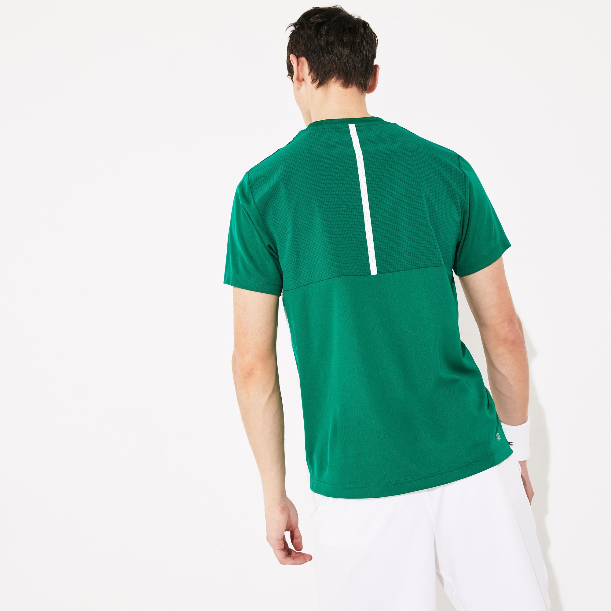 Lacoste Sport Erkek Bisiklet Yaka Blok Desenli Yeşil - Beyaz T-Shirt