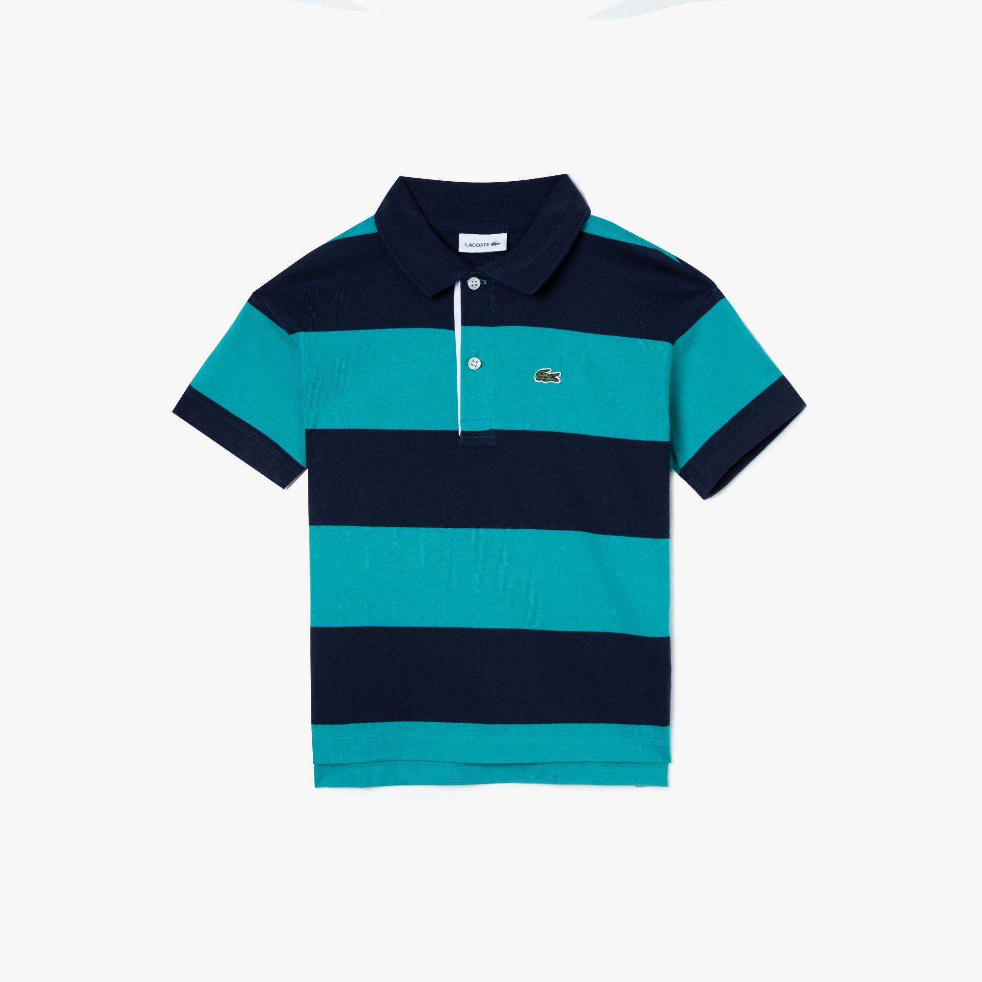 Lacoste Çocuk Çizgili Blok Desenli Lacivert - Mavi Polo