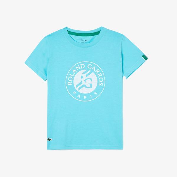 Lacoste Sport Çocuk Bisiklet Yaka Desenli Açık Mavi T-Shirt