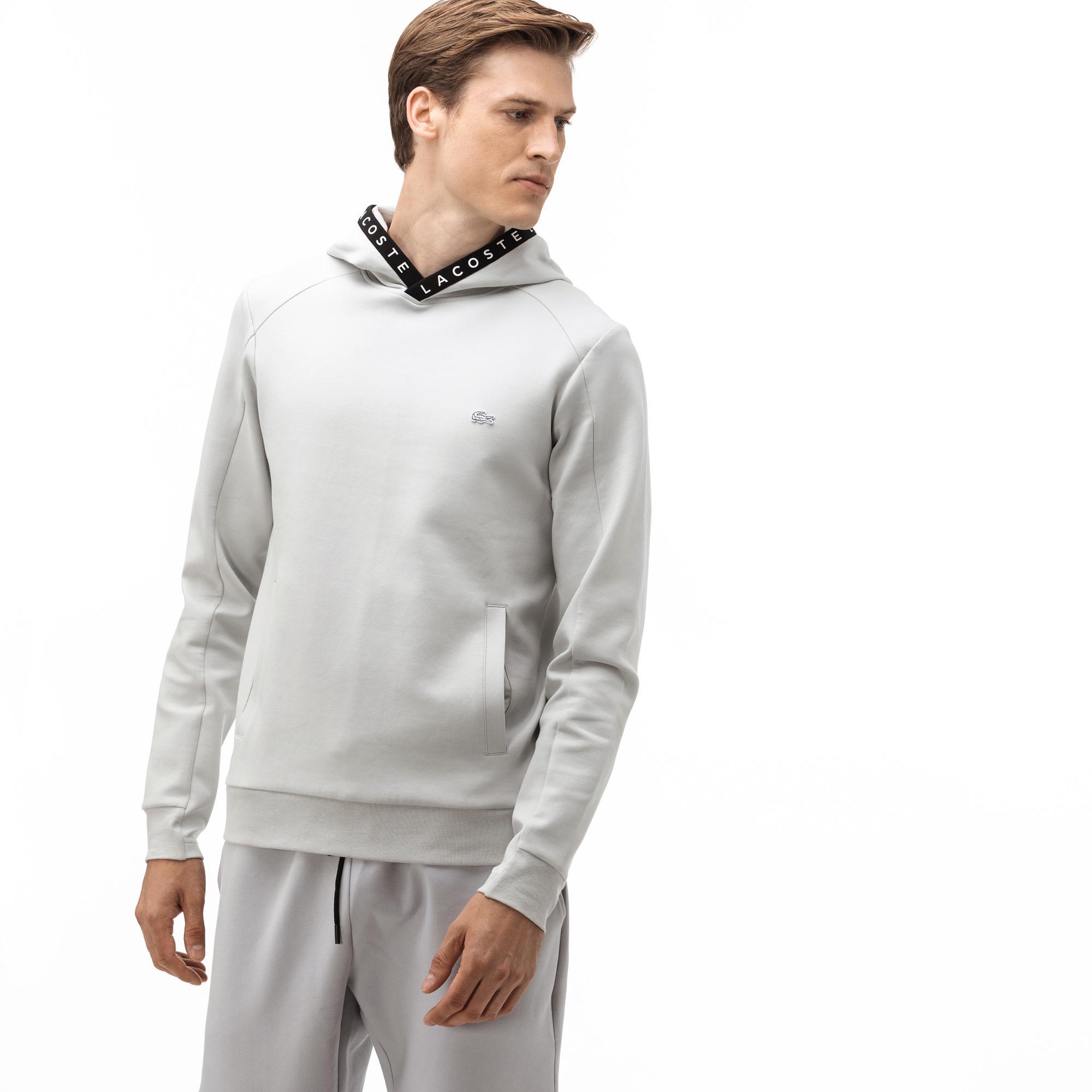 Lacoste Erkek Kapüşonlu Baskılı Gri Sweatshirt