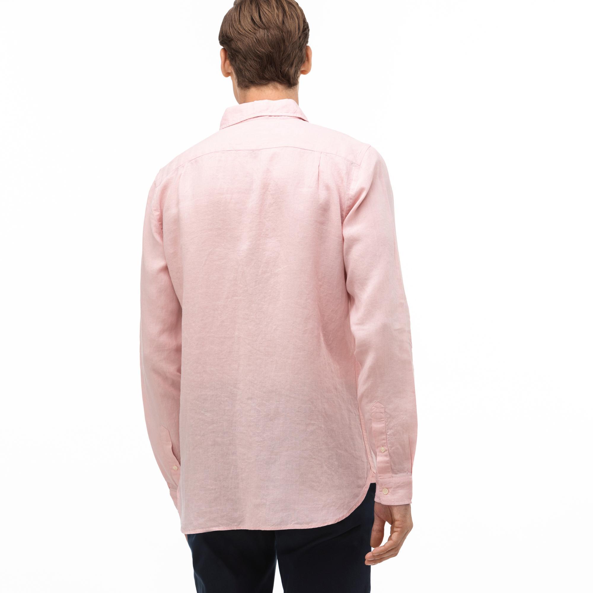 Lacoste Erkek Slim Fit Düğmeli Yaka Açık Pembe Keten Gömlek