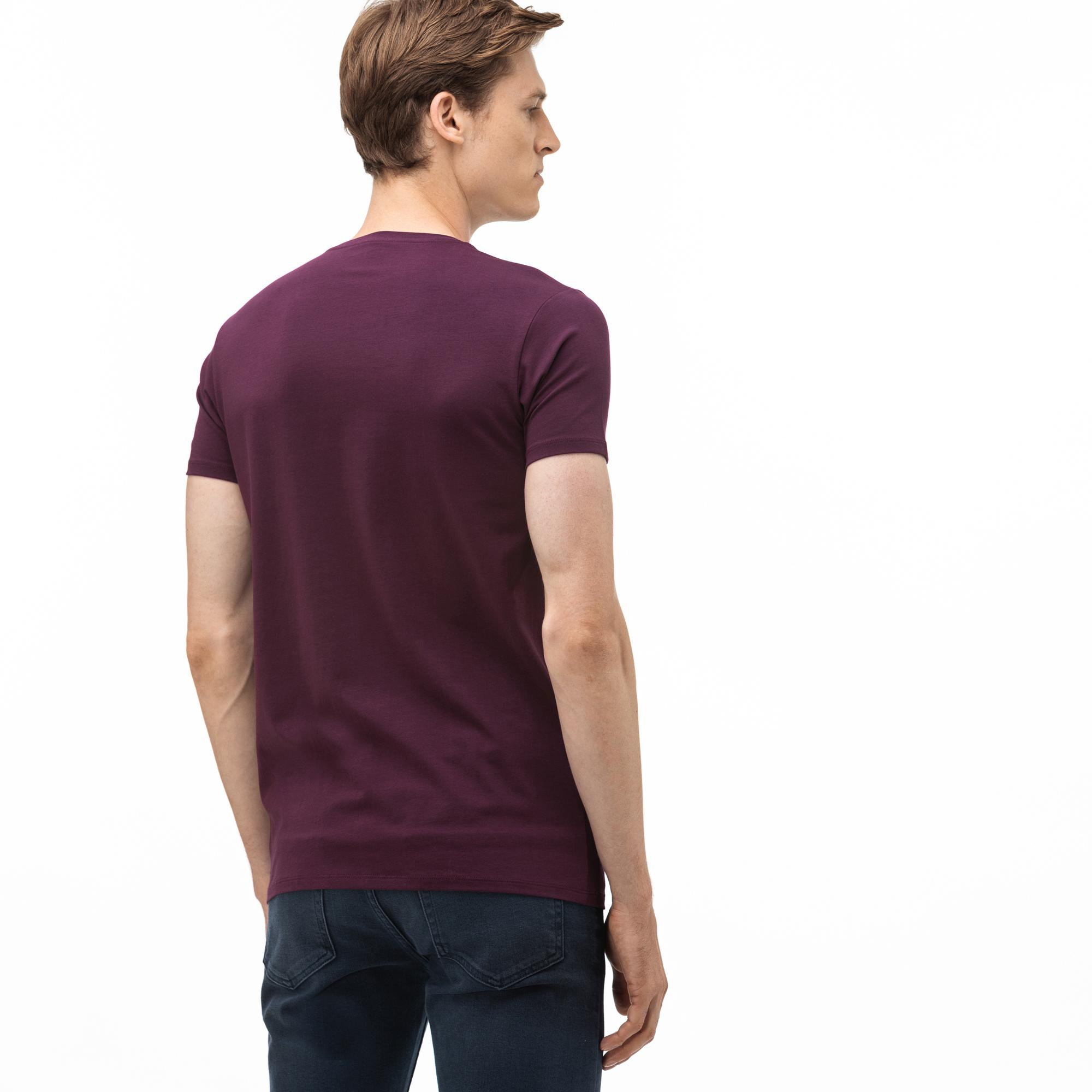Lacoste Erkek V Yaka Mor T-Shirt