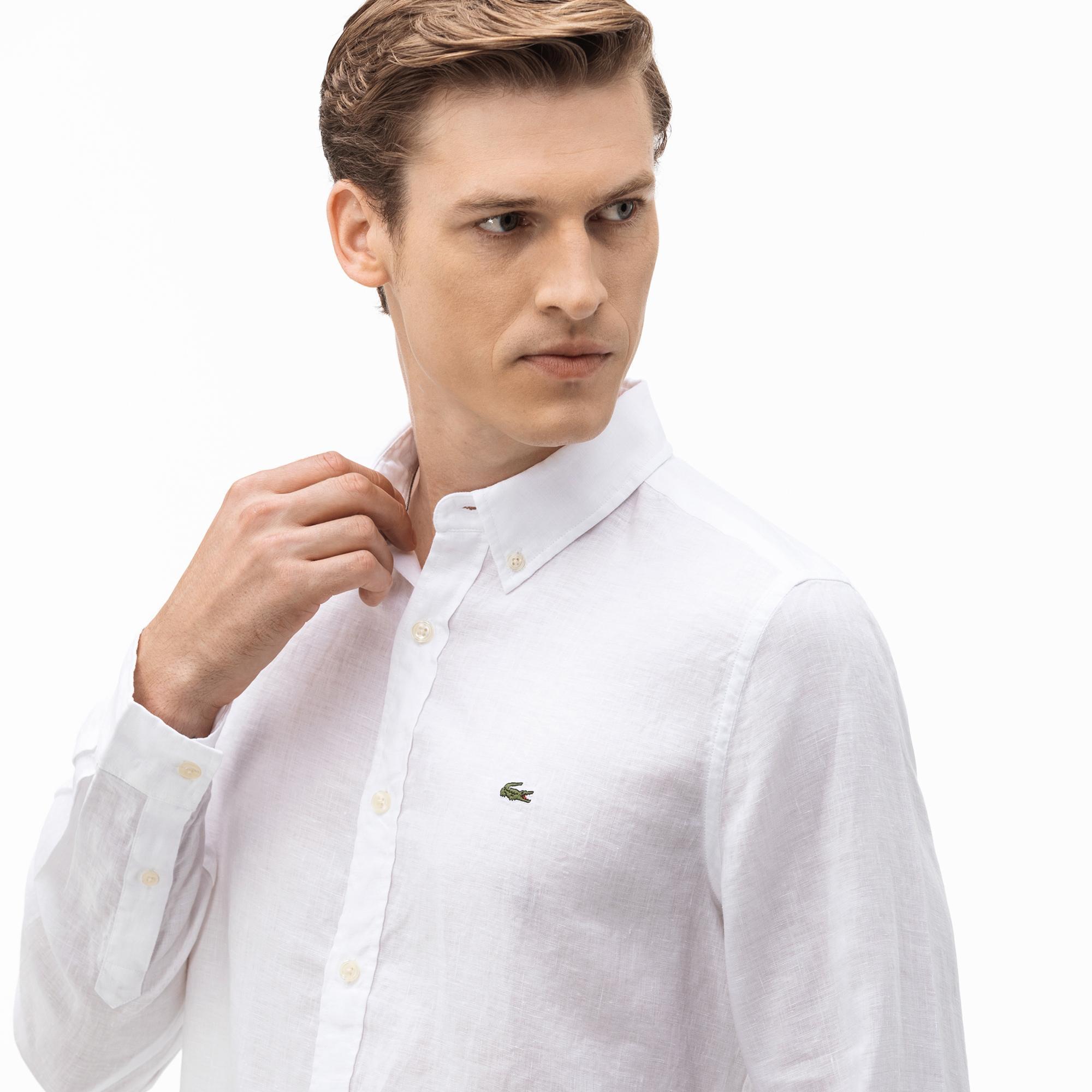 Lacoste Erkek Slim Fit Keten Beyaz Gömlek