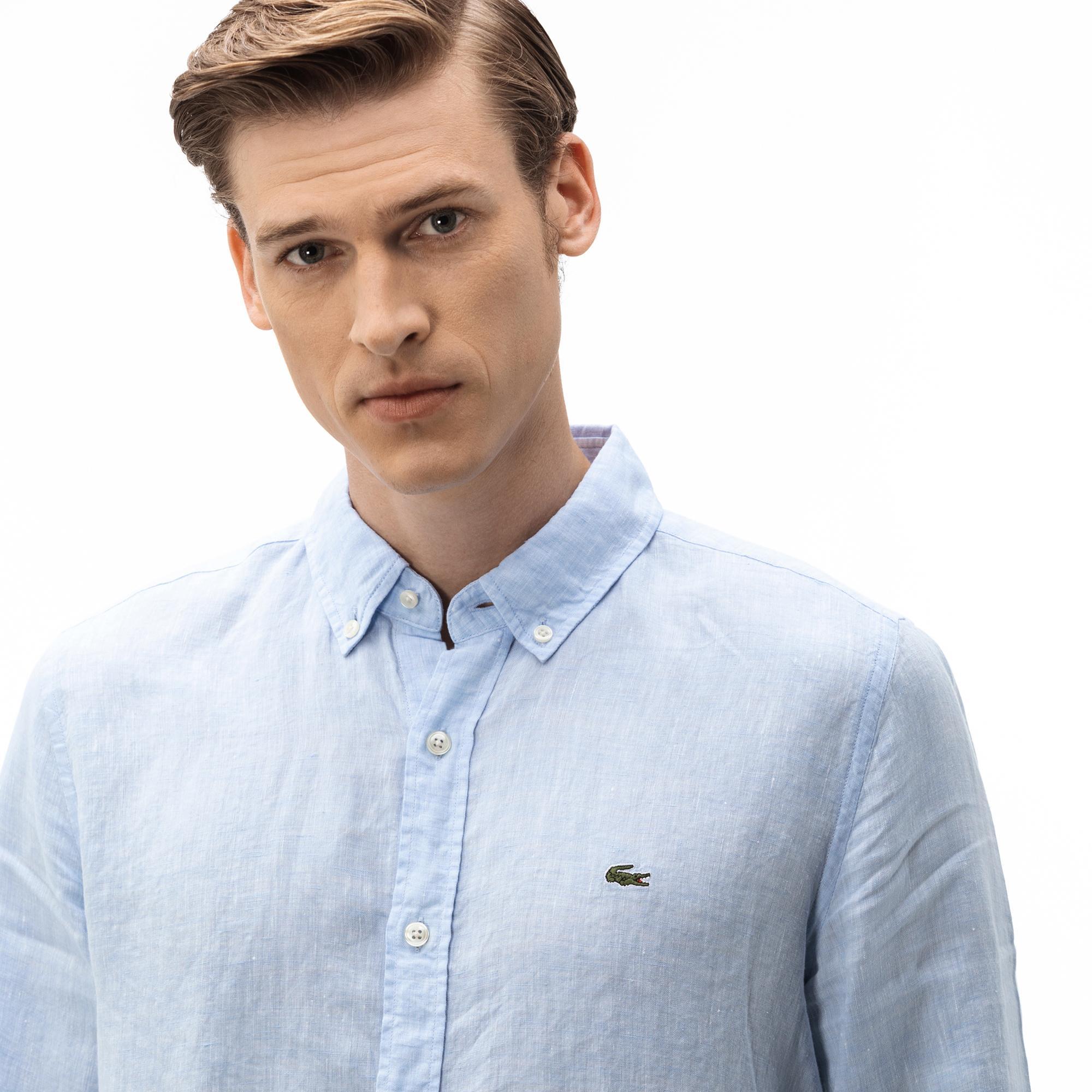 Lacoste Erkek Slim Fit Açık Mavi Gömlek