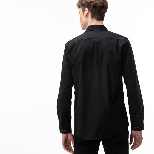 Lacoste Erkek Slim Fit Düğmeli Yaka Siyah Gömlek