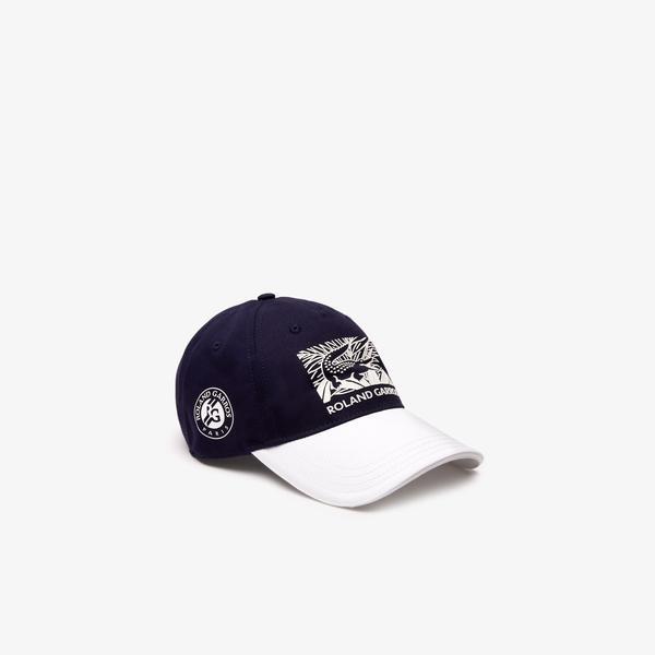 Lacoste Sport Roland Garros Unisex Timsah Baskılı Lacivert - Beyaz Şapka