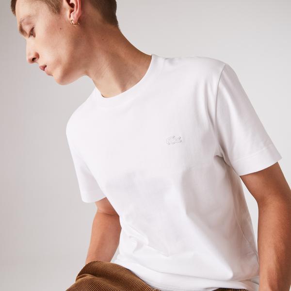 Lacoste Erkek Bisiklet Yaka Kısa Kollu Beyaz T-Shirt