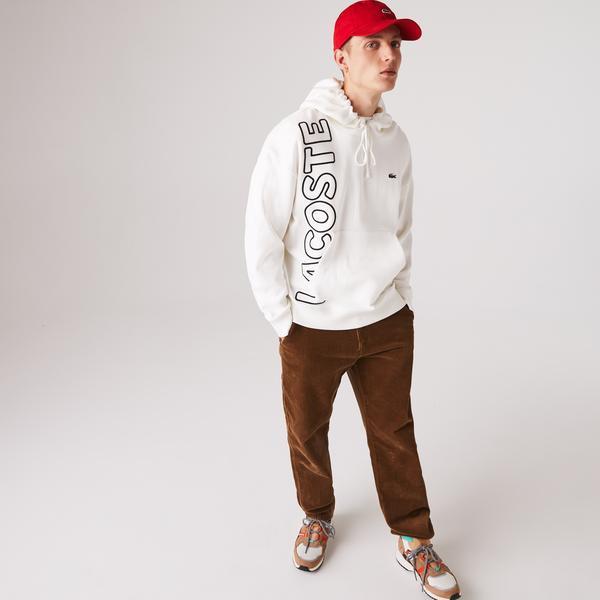 Lacoste L!VE Erkek Baskılı Kapüşonlu Beyaz Sweatshirt