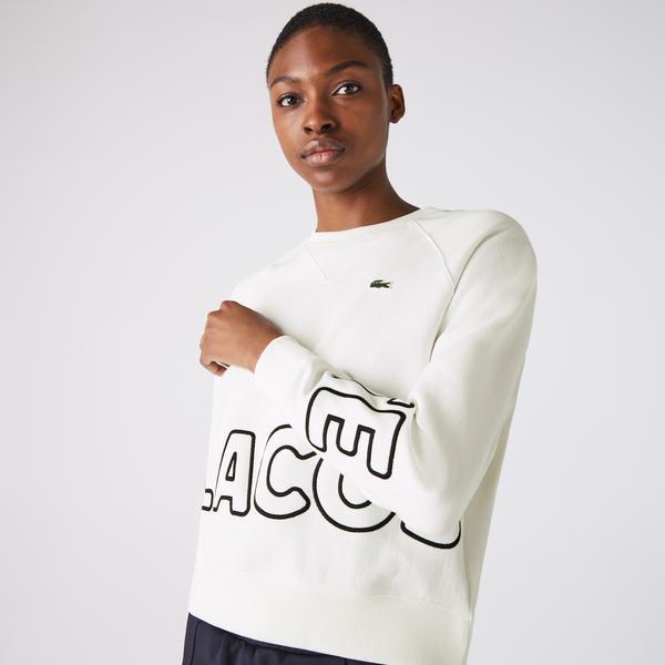 Lacoste L!VE Kadın Baskılı Bisiklet Yaka Beyaz Sweatshirt