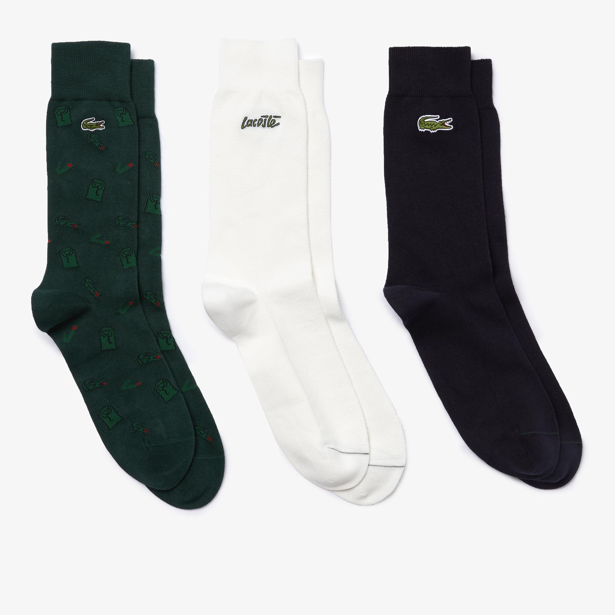 Lacoste Unisex Desenli Uzun Beyaz Çorap