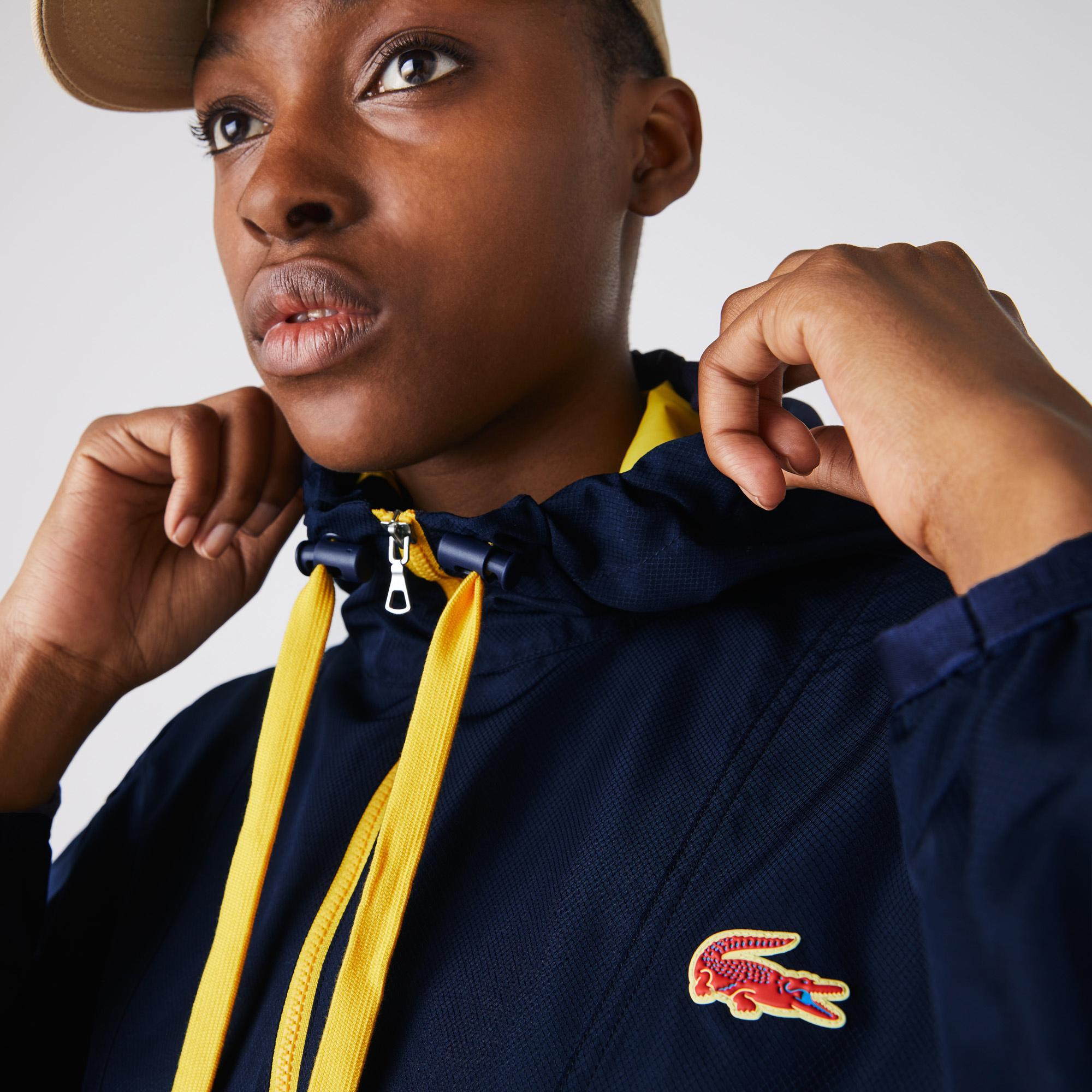 Lacoste Sport Kadın Kapüşonlu Lacivert Mont