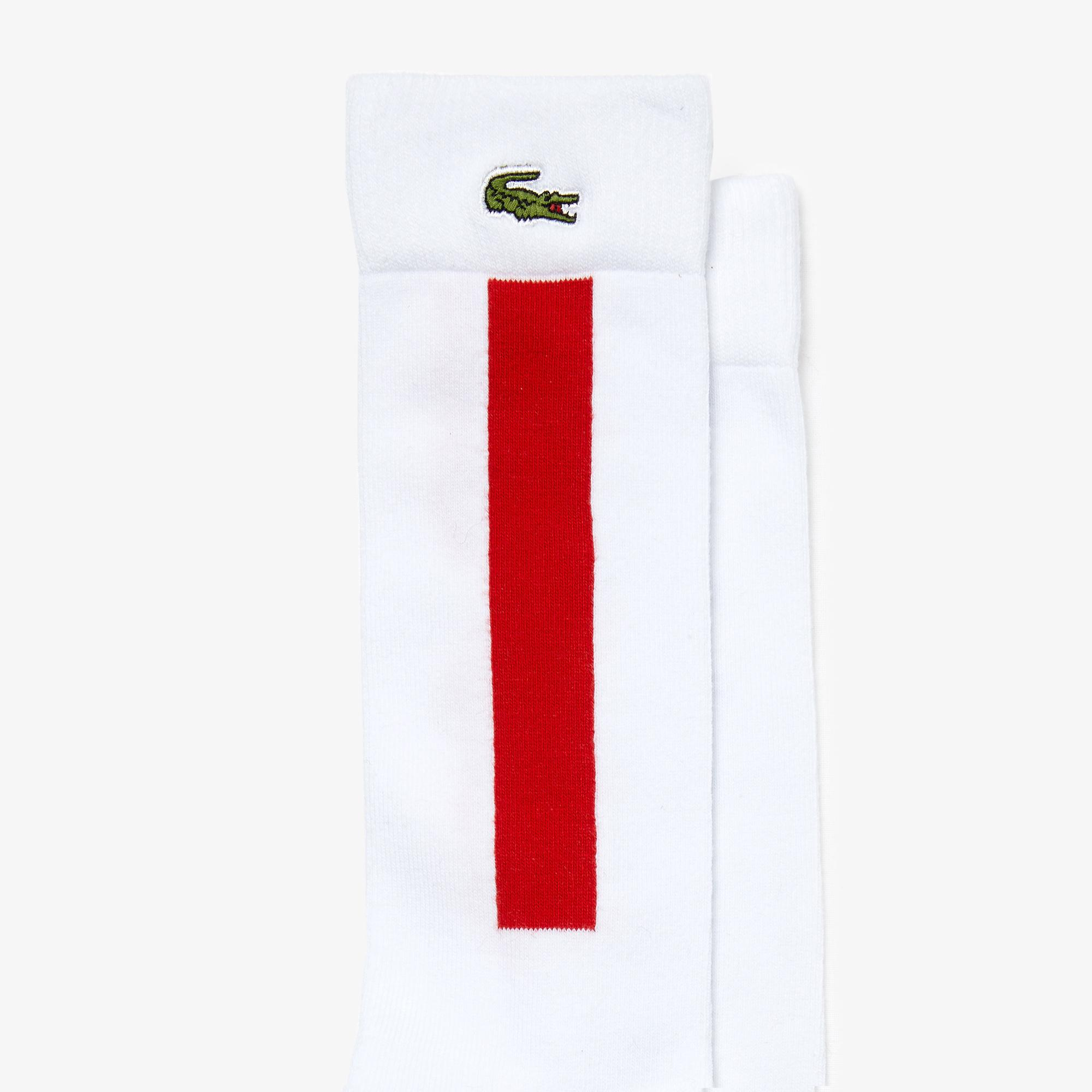 Lacoste Sport Unisex Blok Desenli Uzun Beyaz Çorap