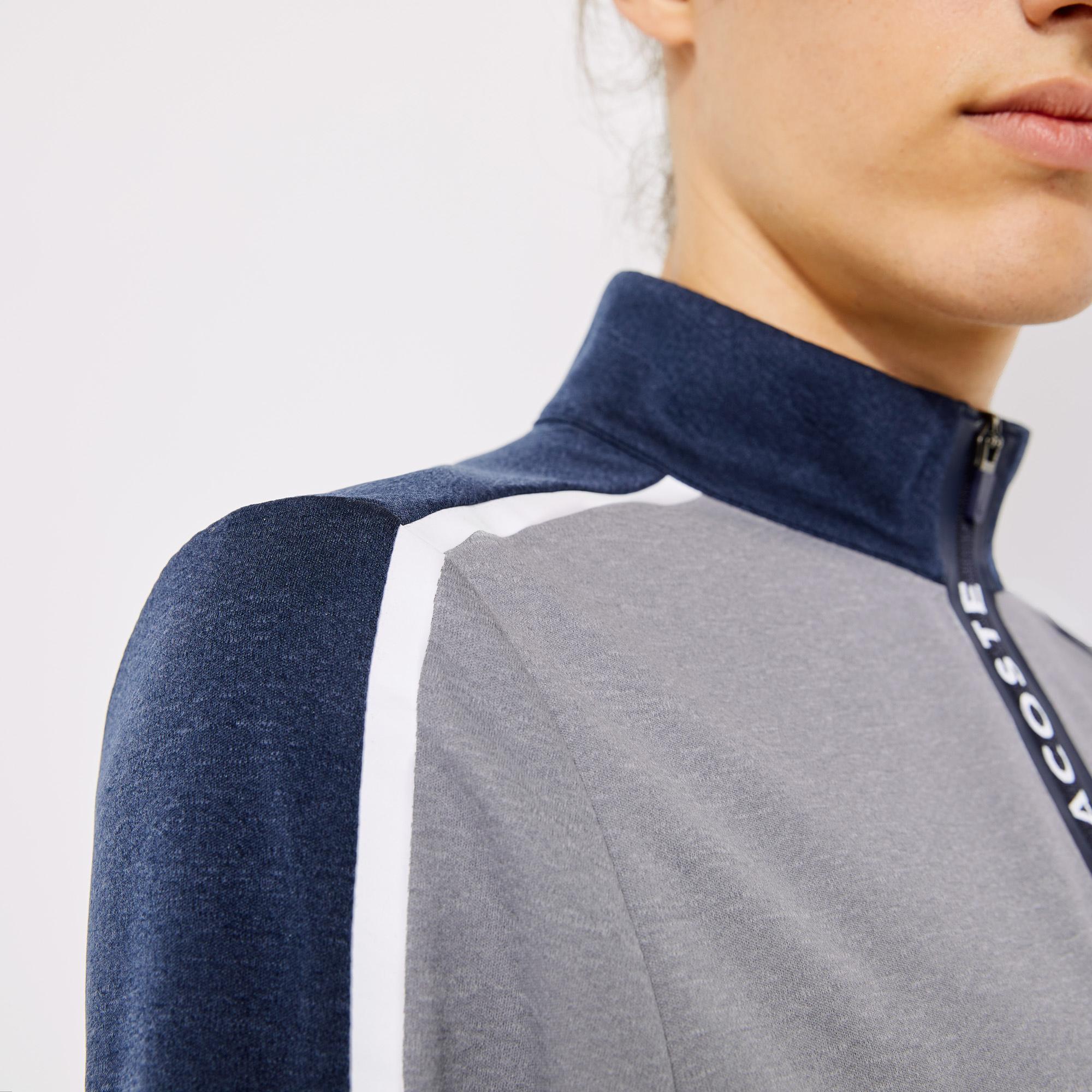 Lacoste Sport Erkek Blok Desenli Fermuarlı Yaka Gri Sweatshirt