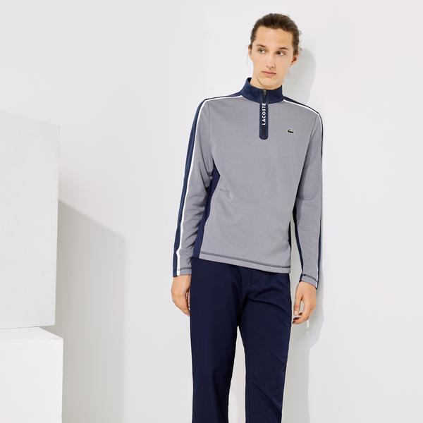 Lacoste Sport Erkek Blok Desenli Fermuarlı Renkli Sweatshirt