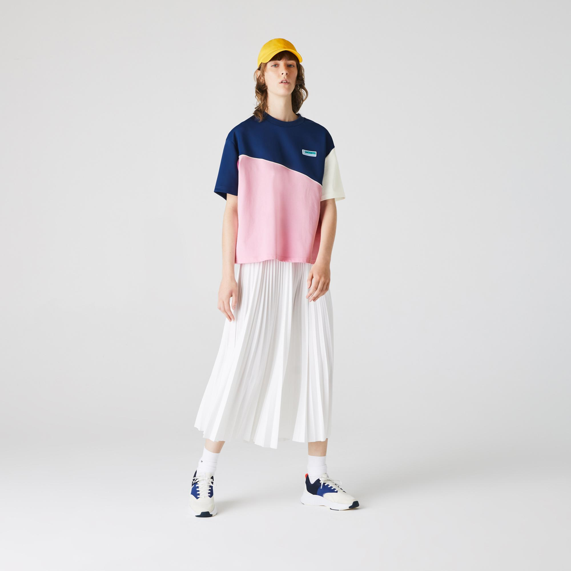 Lacoste L!VE Kadın Blok Desenli Bisiklet Yaka Kısa Kollu Renkli T-Shirt