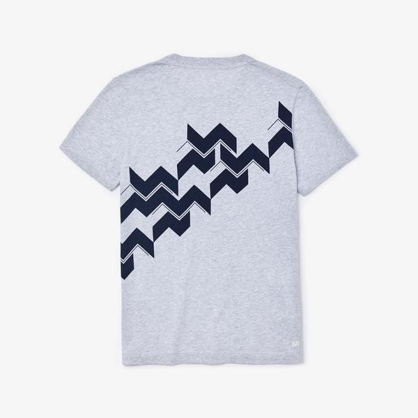 Lacoste Sport Erkek Baskılı Bisiklet Yaka Kısa Kollu Gri T-Shirt