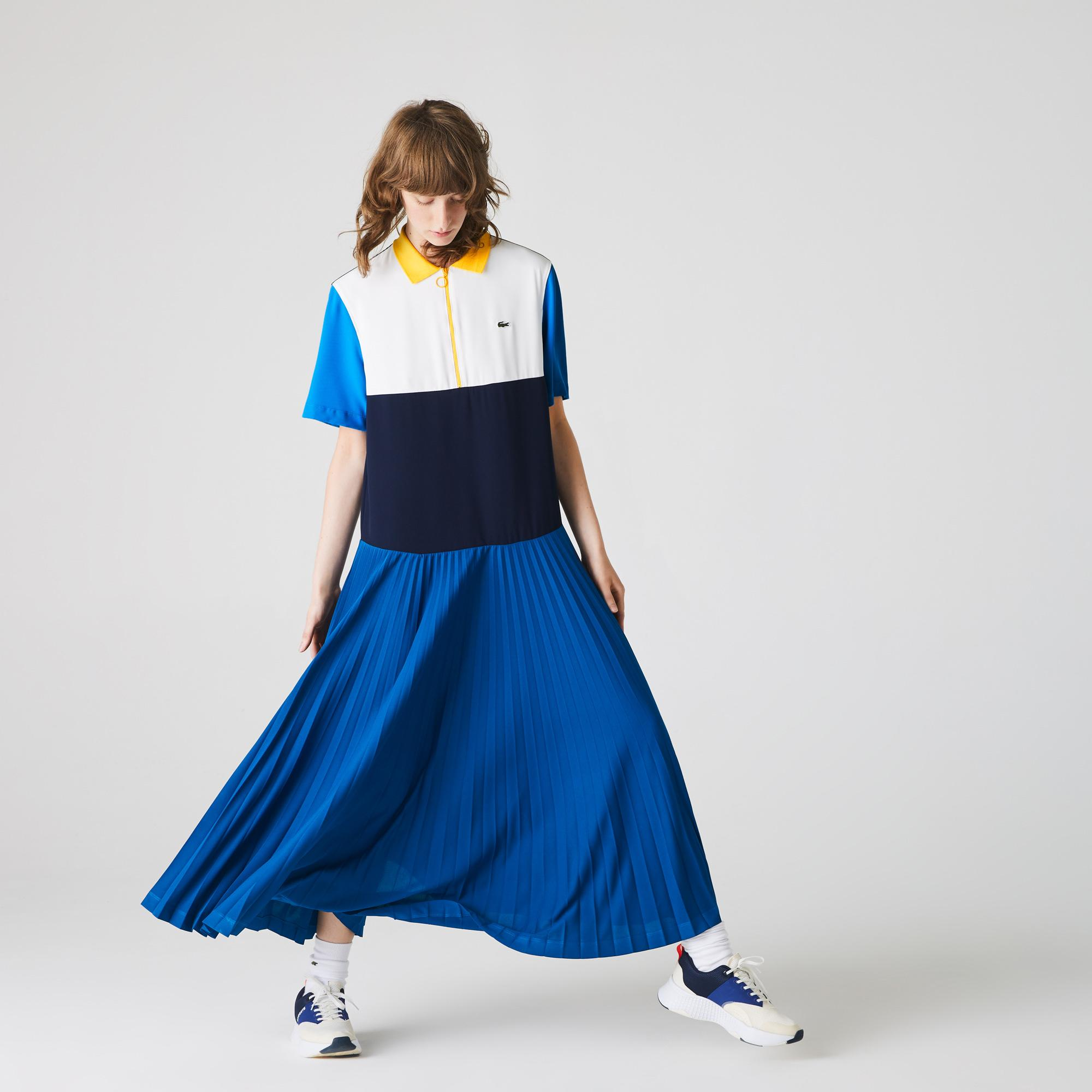 Lacoste Kadın Blok Desenli Fermuar Yaka Kısa Kollu Lacivert Elbise