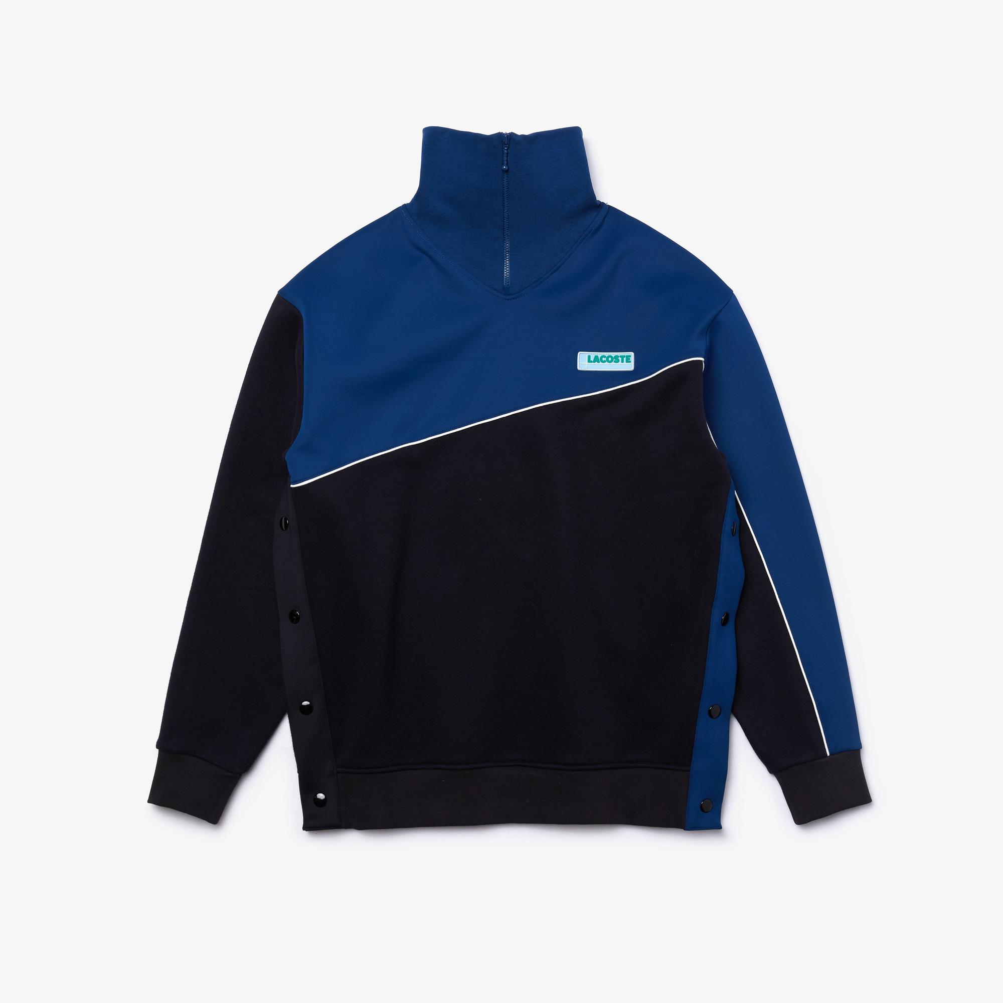 Lacoste L!VE Kadın Blok Desenli Fermuarlı Lacivert Sweatshirt