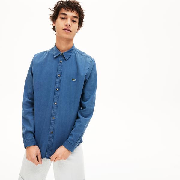 Lacoste Erkek Regular Fit Düğmeli Yaka Denim Lacivert Gömlek
