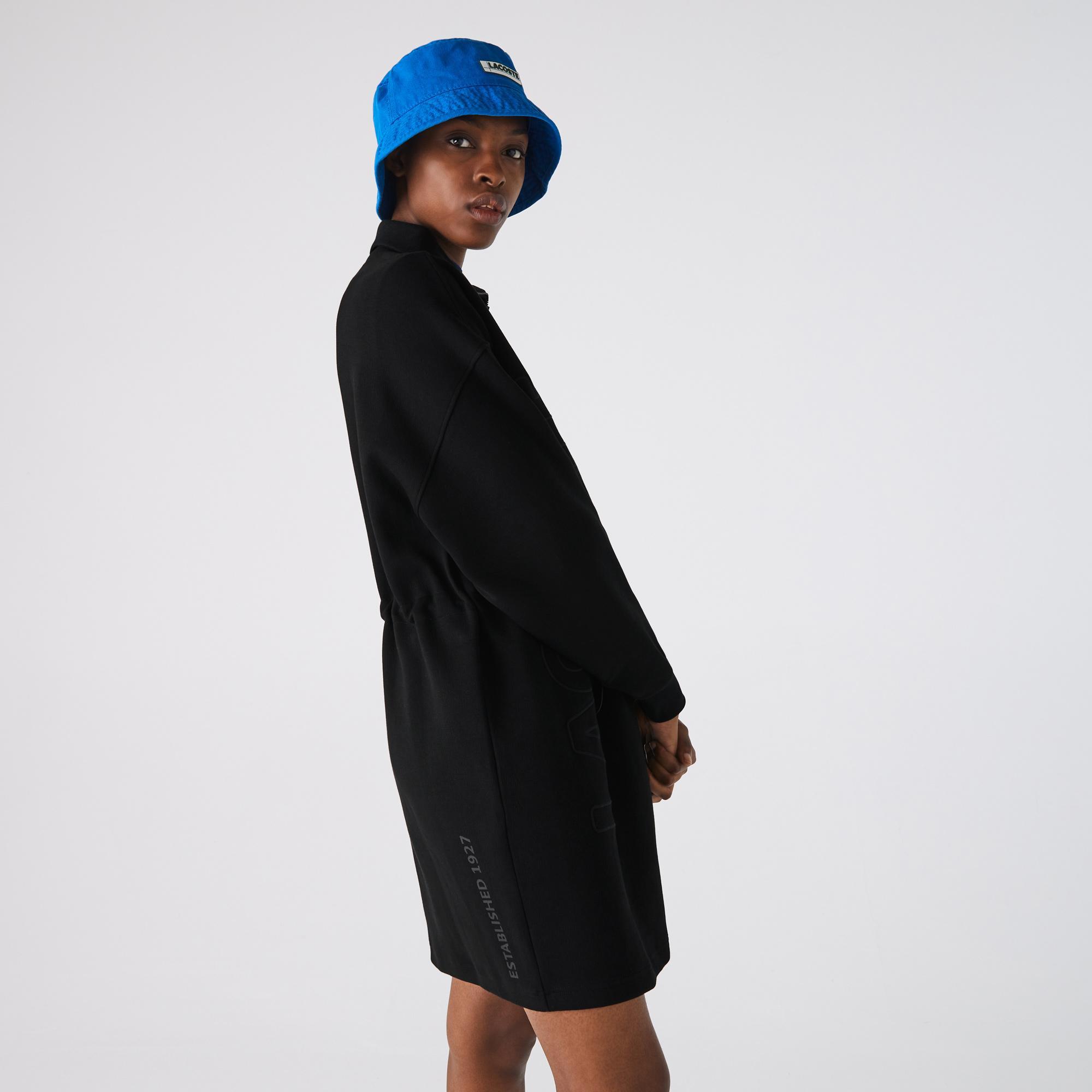 Lacoste L!VE Kadın Dik Yaka Uzun Kollu Siyah Elbise