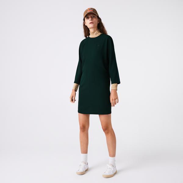 Lacoste Kadın Bisiklet Yaka Yarım Kollu Yeşil Elbise