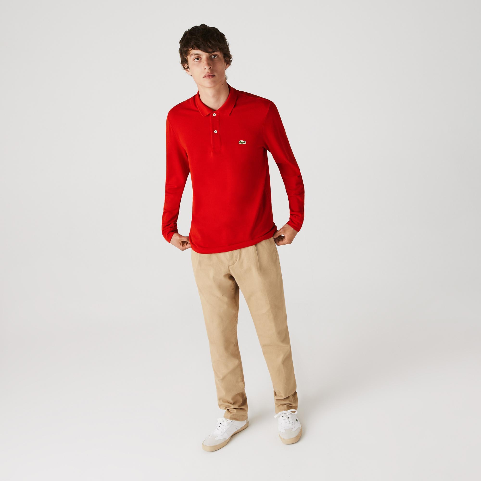 Lacoste Erkek Klasik Fit L1212 Uzun Kollu Kırmızı Polo